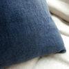 Coussin en lin bleu marine
