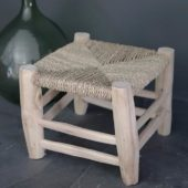 tabouret en osier et bois naturel, artisanat marocain, hauteur 25 cm