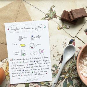 carte postale recette gateau au chocolat