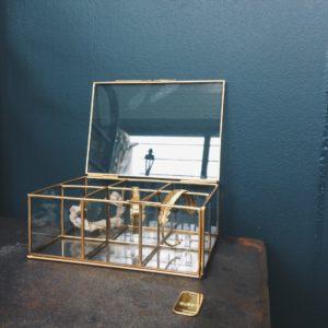 boite bijoux verre et laiton