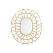 Miroir oval en rotin