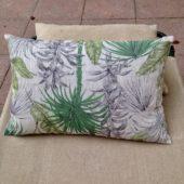 Coussin jungle tendance, 100% lin composé de tissu ancien au verso, feuilles, naturel, vert, 40x60 cm