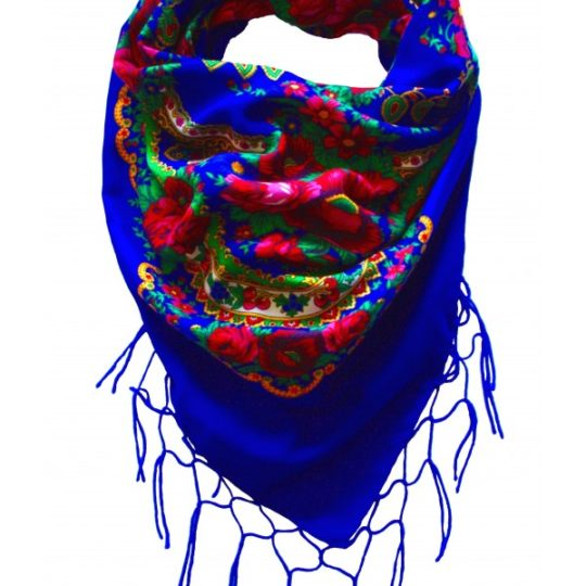 grand foulard folk bohème bleu pays slaves