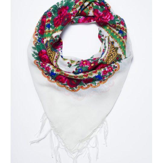 grand foulard folk bohème blanc pays slaves