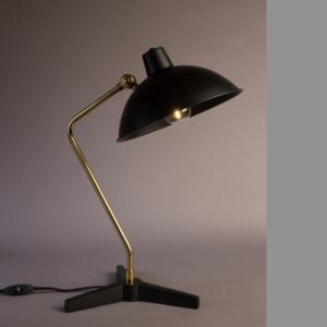 lampe de bureau en métal noir mat et laiton