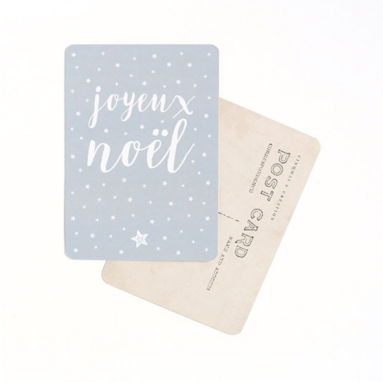 carte postale JOYEUX NOEL CINQMAI bleu gris