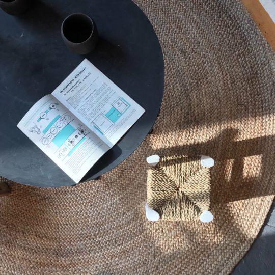petit tabouret marocain pieds blanc artisanat