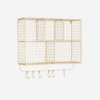 Etagère en laiton à compartiments et crochets