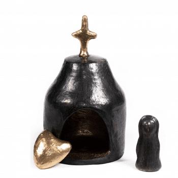 Poterie en argile noire, oratoire