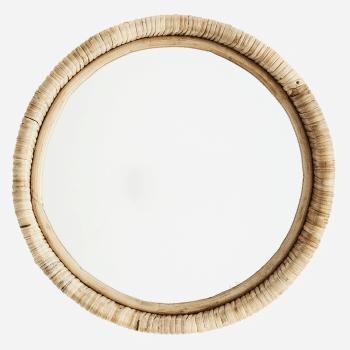 Petit miroir rond en bambou