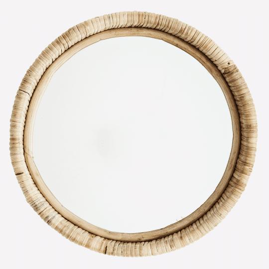 miroir rond bambou
