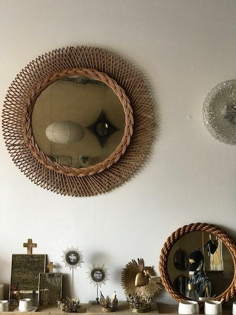miroir rotin soleil vintage XL