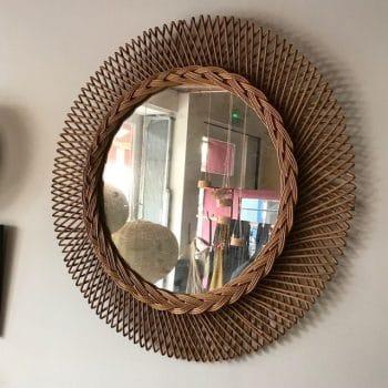Miroir en rotin vintage XL