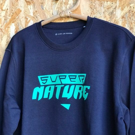 sweat shirt adulte bleu bio Super Nature