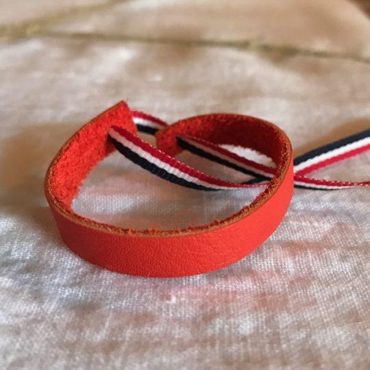 bracelet en cuir rouge oranger
