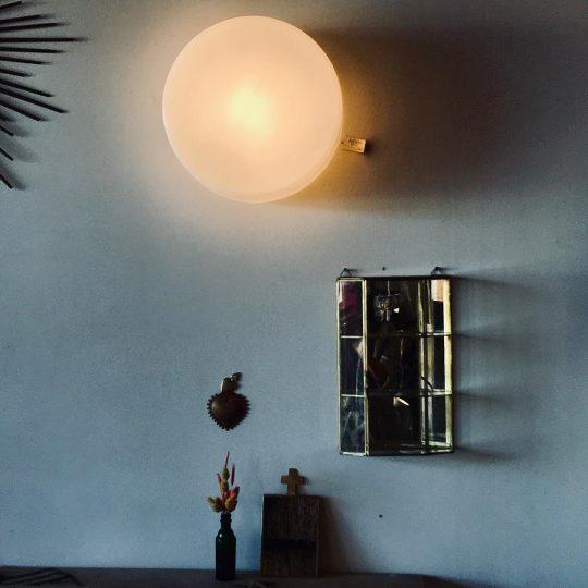 applique murale plafonnier opaline blanc luminaire vintage original brocante