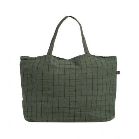cabas sac lin carreaux chieti harmony kaki vert noir