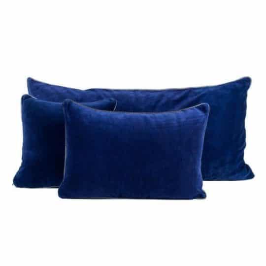 coussin dehli velours harmony indigo bleu