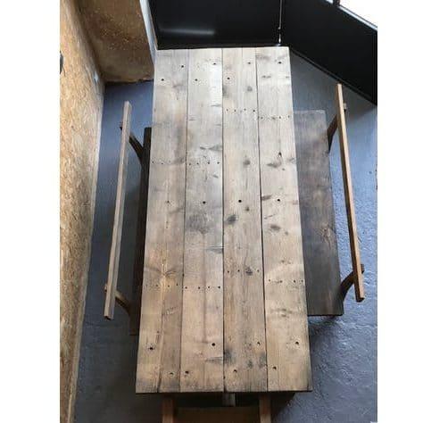 Table d'atelier en bois vintage