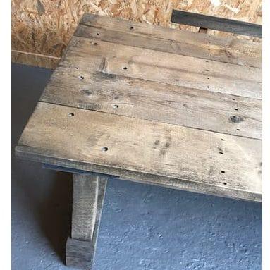 Table d'atelier en bois brocante