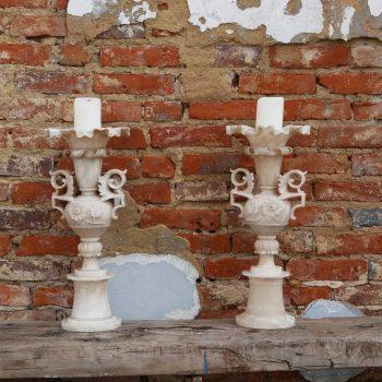 Porte-cierges en albâtre