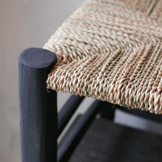 tabouret marocain à assise large noir
