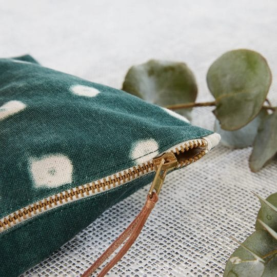 Pochette en tissu verte