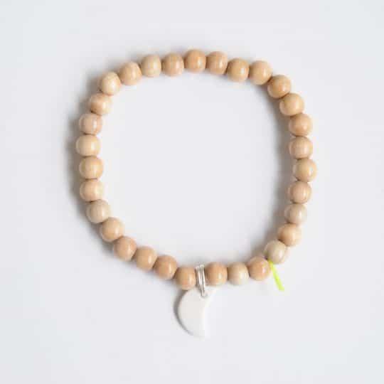 bracelet wood bois 6mm lune porcelaine blanc margote céramiste