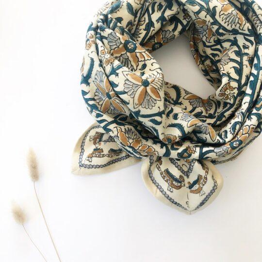 foulard blockprint sable
