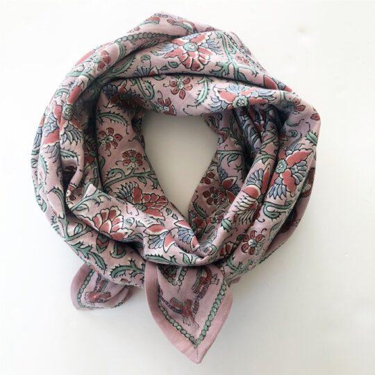foulard blockprint rose pastel