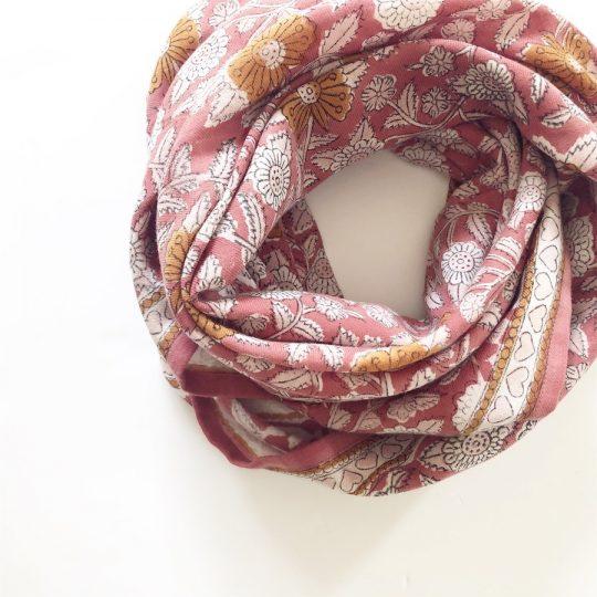 Foulard en coton bois de rose