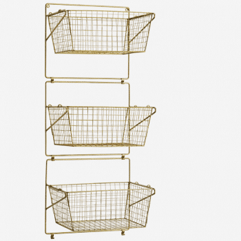 Paniers de rangement muraux en laiton