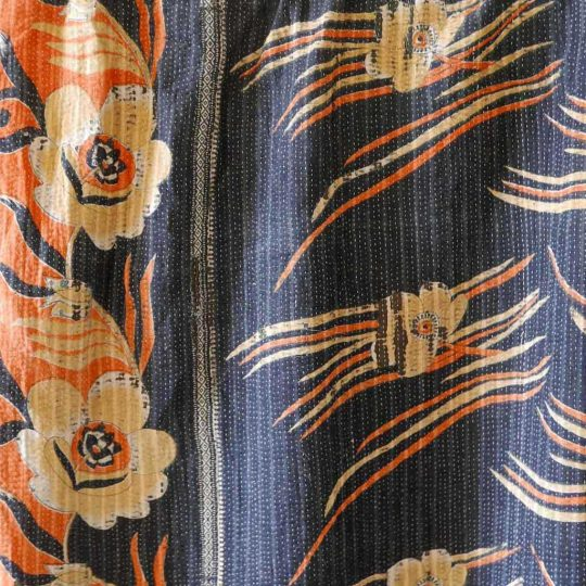 Kantha vintage orange et bleu motif