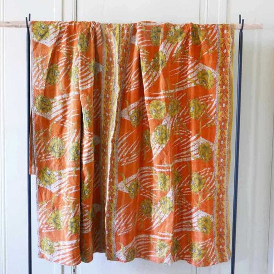 Kantha vintage orange indien original