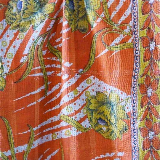 Kantha vintage orange motif