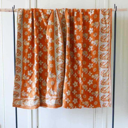 Kantha vintage orange indien