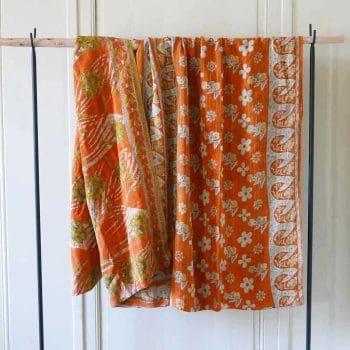 Plaid Kantha vintage orange
