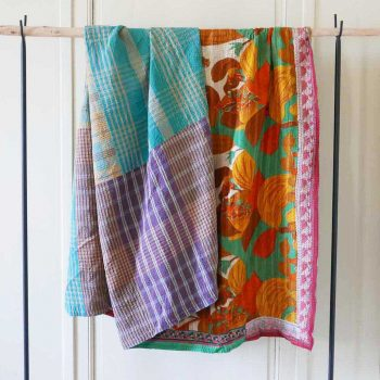Plaid Kantha patchwork