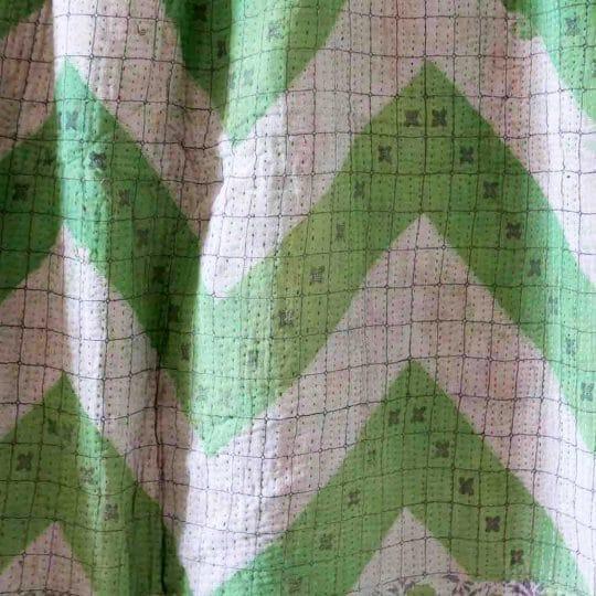 Kantha vintage vert et rose détails indien