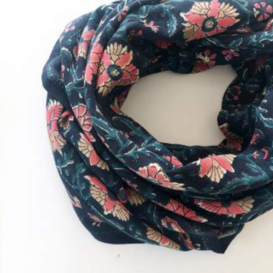 foulard blockprint bleu celeste