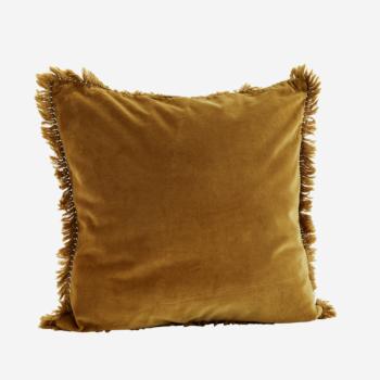 Coussin en velours bronze avec franges