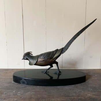 Oiseau en regule et socle en marrbre de Rochard