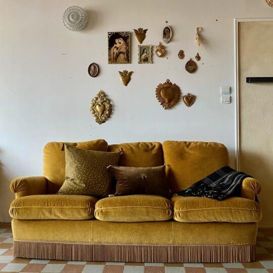 canapé vintage en velours