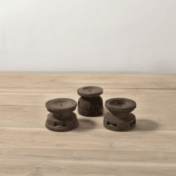 Bougeoir bas en bois