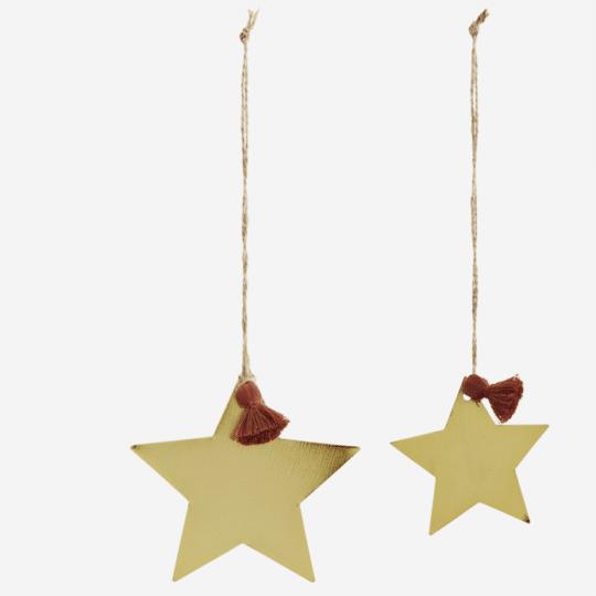 lot de 2 étoiles en métal doré à suspendre dans la maison