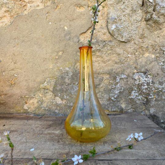 vase ou flacon jaune hongrois vintage