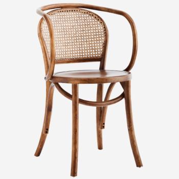 Chaise en bois et cannage