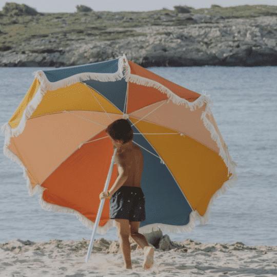parasol en coton bio multicolore et franges