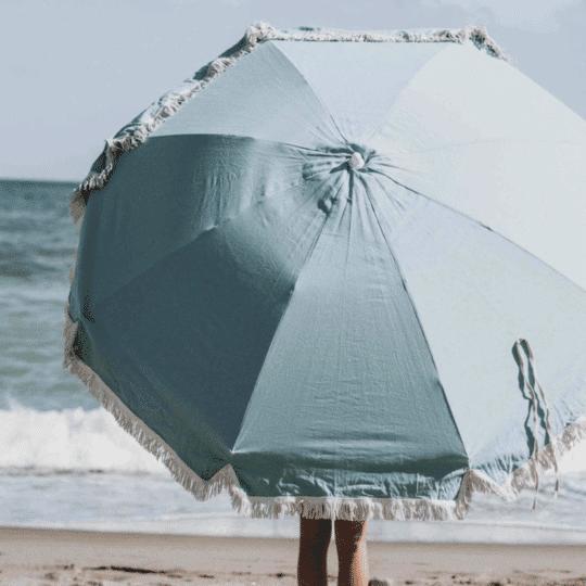 parasol en coton bio turquoise et franges