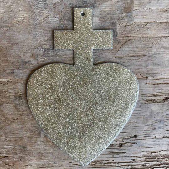 coeur croix emaillé